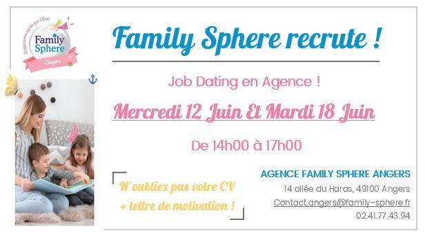 JOB DATING: le 12 juin et 18 juin – Family Sphere Angers recrute !